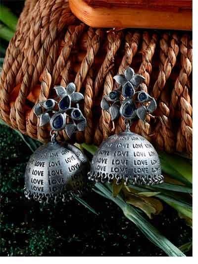 Silver Plated Blue Gemstones Studded Brass Jhumka Earrings