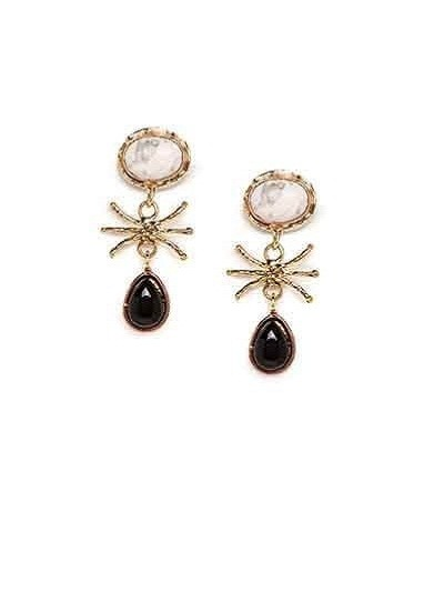 Open Charms White and Black Onyx Designer Trendy Party Wear Earrings