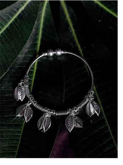 Dainty Leaves Oxidized Silver Charm Bracelet