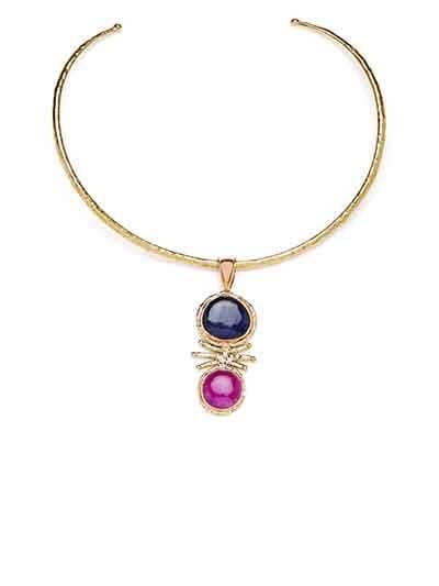Blue & Pink Brass Choker For Women