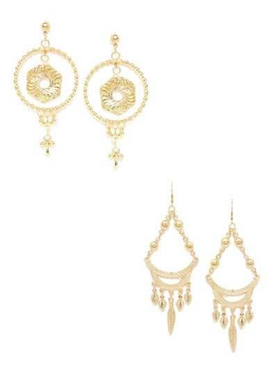 Combo of Golden Hoops and Chandelier Earrings