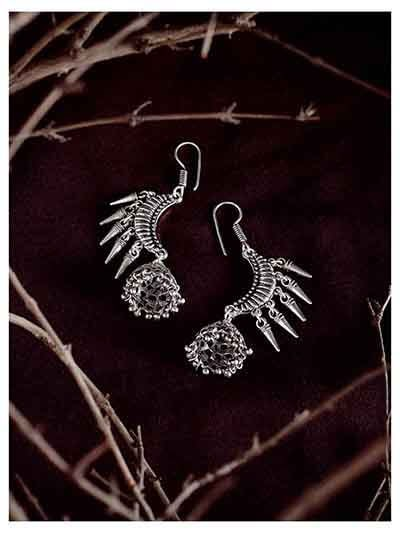 Oxidized Silver Crescent Jhumka Earrings