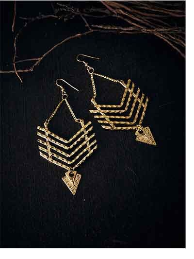 Arrow Artificial Earrings in Golden Color