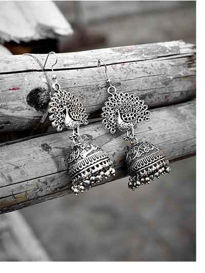Classic Peacock Embellished Tribal Jewellery Jhumki Earrings