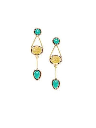 Earthy Yellow Druzy and Turquoise stone Modern Fancy Party Wear earrings