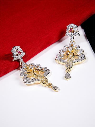 American Diamond Designer Peacock Earrings with Red Stones