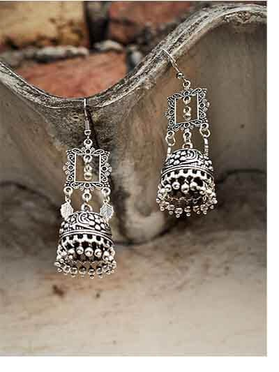 Floral Tribal Jewellery Square Earrings With Pretty Hangings