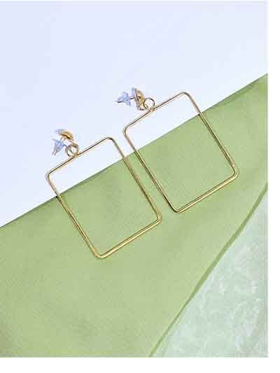 Rectangular Metal Earrings in Golden Color