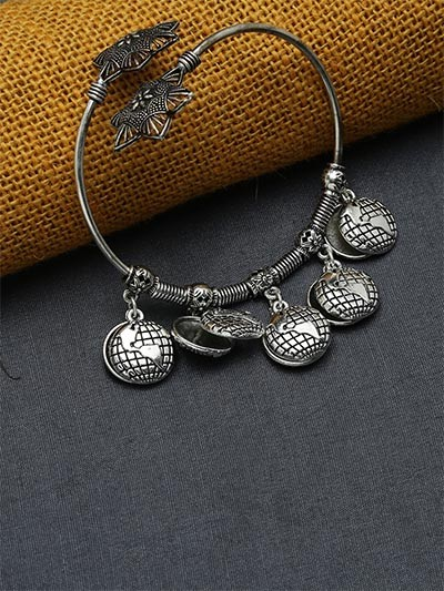 Adjustable Oxidized Silver Bracelet with Globe Charms