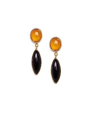 Miss Tango Lime and Black Onyx Fashionable Party Wear Earrings