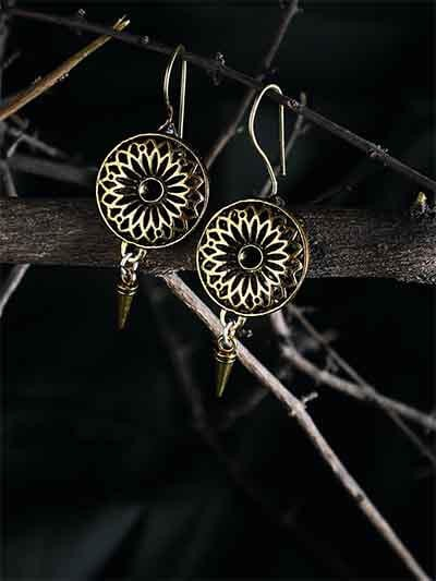 Short Golden Circular Earrings