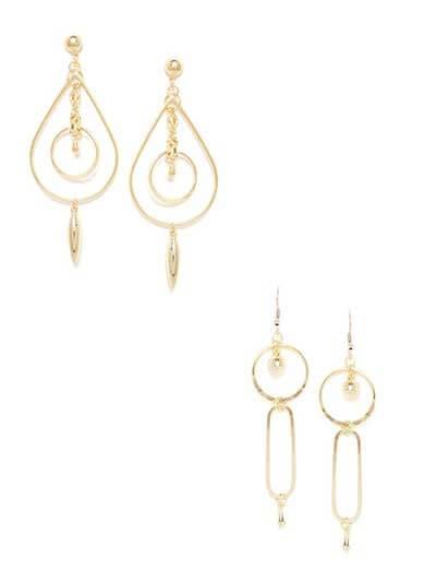Combo of Golden Drop Earrings and Golden Dangler Earrings