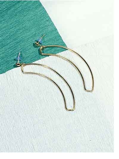 Golden Banana Leaf Artificial Earrings