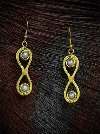 Luxe Bath Brass Plated Pearl Finish Designer Drop Party Wear Earrings