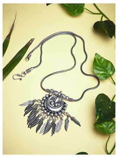 Hanging Metallic Leaves Oxidized Tribal Jewellery Statement Necklace