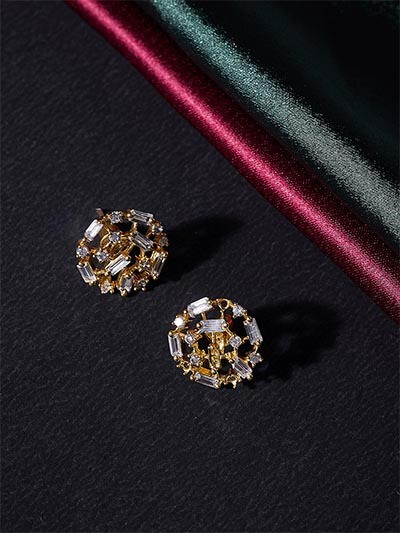 American Diamond Patterned Stud Earrings