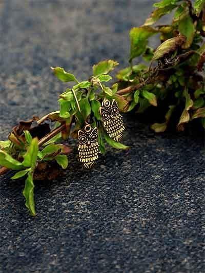 Short Golden Owl Earrings