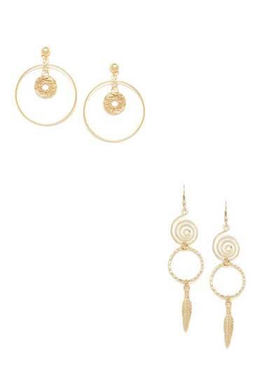 Combo of Golden Earrings and Golden Spiral Dangler Earrings