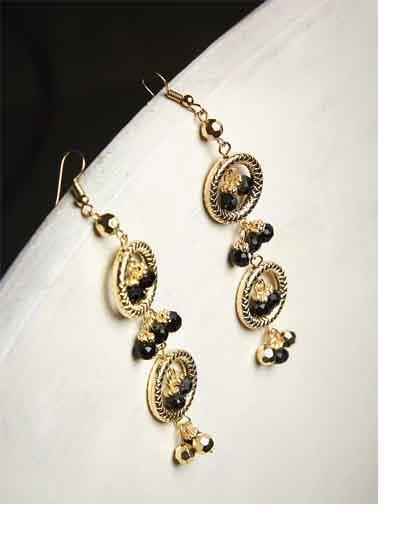Layered Circles and Black Beads Golden Western Earrings
