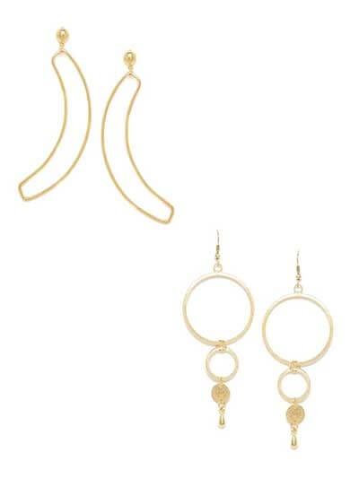 Combo of Golden Leaf Earrings and Golden Hoops Earrings