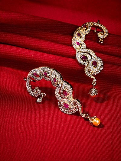 American Diamond Designer Earcuffs with Red Stones