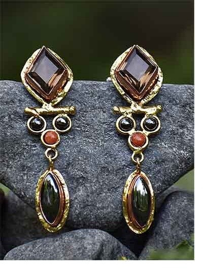 Smoky Hematite Red Aventurine Semi Precious Handmade Jewellery Earrings