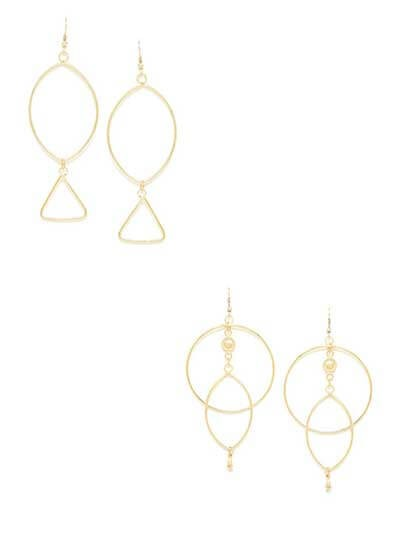Combo of Two Layered Golden Hoops Earrings