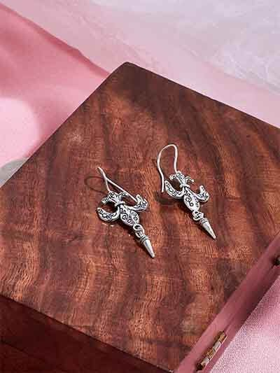 Short Silver Oxidized Earrings