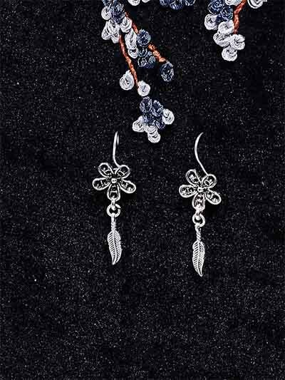Silver Flower and Leaves Oxidized Earrings