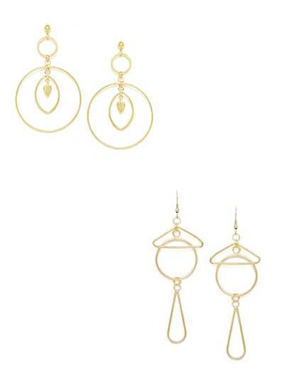 Combo of Two Golden Geometrical Earrings