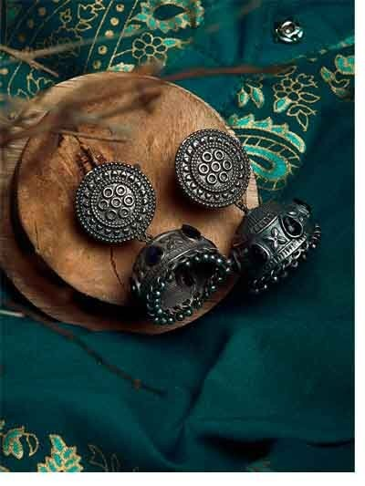 Silver Plated Brass Jhumkis With Circular Embellishments and Blue Stones