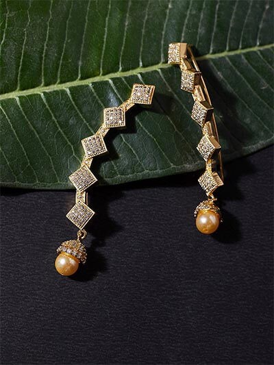American Diamond Ear Cuffs with Pearls