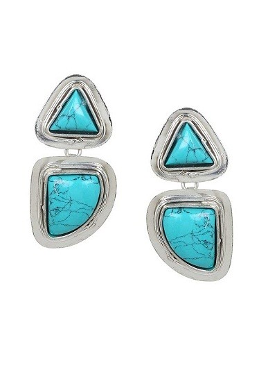 Turquoise Silver Florence Party Wear Earrings