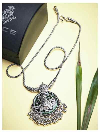 Deity Green Colored Oxidized Tribal Jewellery Fashion Necklace