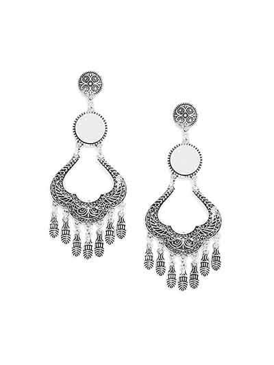 Oxidized Silver Chandelier Dangler Earrings