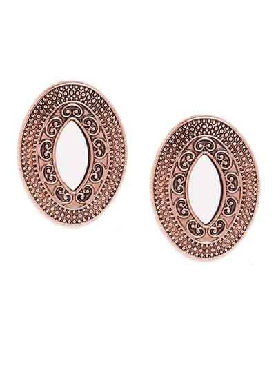 Rose Gold Mirror Stud Earrings