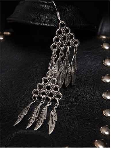 Long Oxidized Silver Earrings For Women