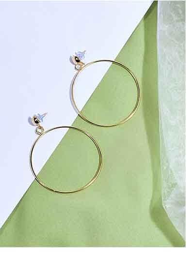 Golden Circular Dangle Earrings For Women