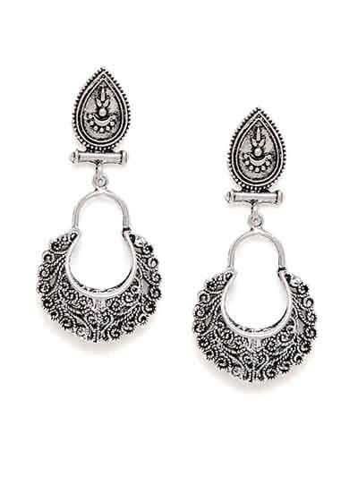 Oxidized Silver Patterned Dangler Earrings