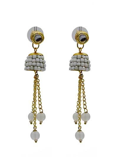 Shrine Pristine White Studded Brass Plated Party Wear Earrings