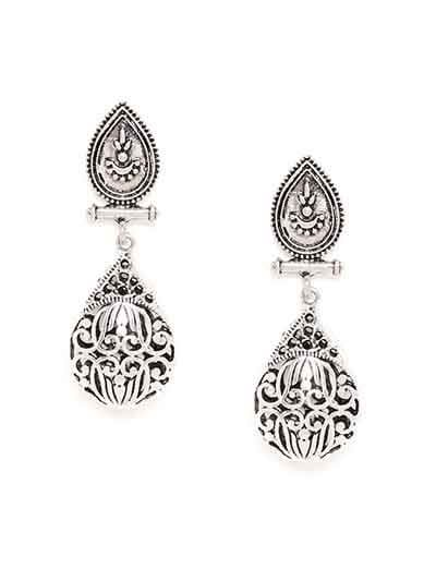 Oxidized Silver Tear-drop Dangler Earrings