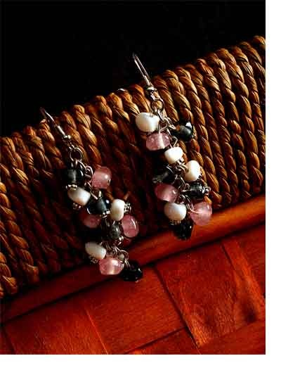 Black, Pink and White Beaded Western Handmade Earrings
