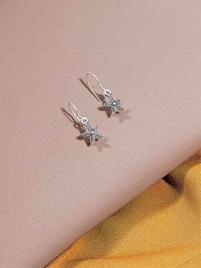 Silver Starfish Oxidized Earrings