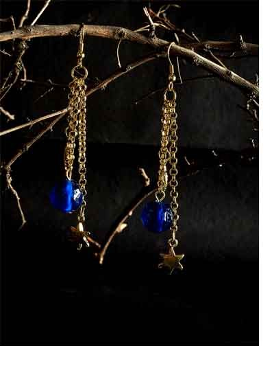 Golden Chain Handmade Earrings With Blue Bead