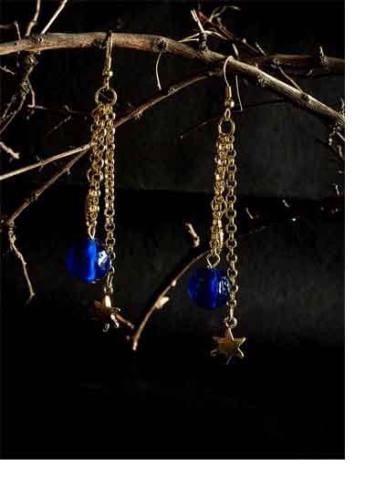 Golden Chain Handmade Earrings With Blue Bead