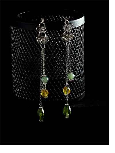 Chain Earrings With Green, Blue and Yellow Beads