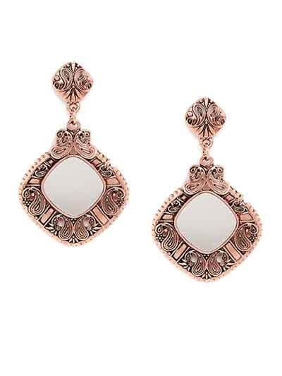Rose Gold Mirror Dangler Earrings