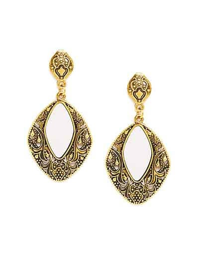 Vintage Golden Mirror Dangler Earrings