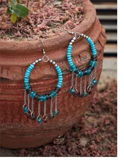 Grey and Blue Beaded Western Handmade Earrings