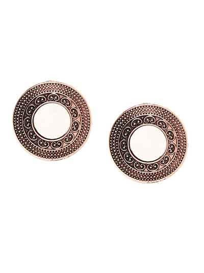 Rose Gold Round Mirror Stud Earrings